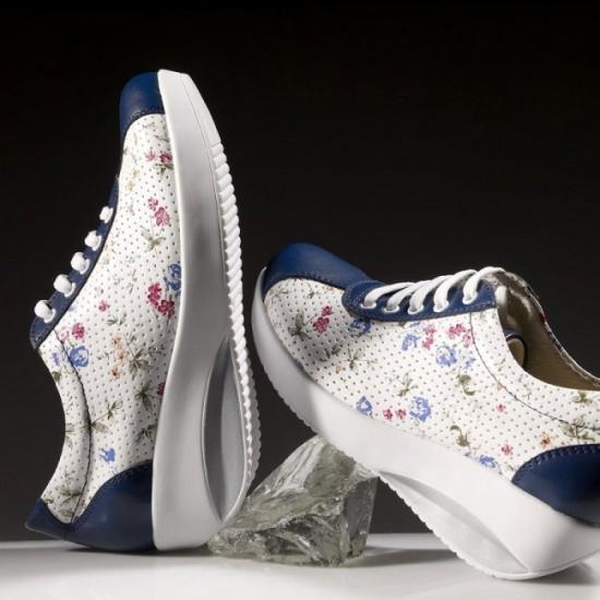 Yüksek Tabanlı Ortopedik Bayan Hastane Çiçekli Spor Ayakkabısı