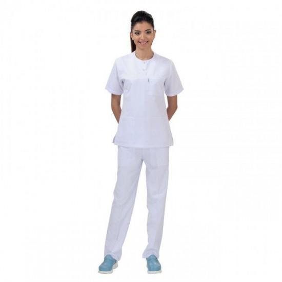 Bayan Simit Yaka Çıtçıtlı Hemşire Takım (Alpaka Kumaş)