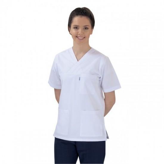 Bayan V (Cerrahi) Yaka Üst Beyaz Alt Lacivert Takım (Alpaka Kumaş)
