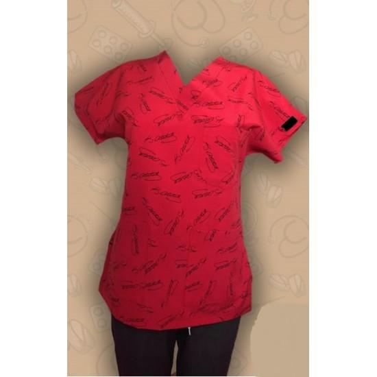 Atatürk İmza Desenli Kırmızı Dr Greys Modeli Cerrahi Takım (Terikoton İnce Kumaş)