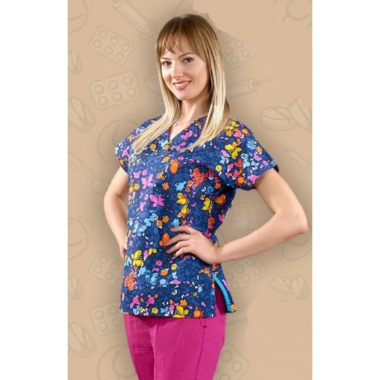 Butterfly Desenli Pantolon Rengi Fuşya Dr Greys Modeli Cerrahi Takım (Terikoton İnce Kumaş)