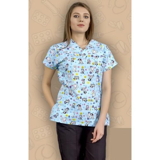 Çiçekli Köpek Desenli Dr Greys Modeli Cerrahi Takım (Terikoton İnce Kumaş)