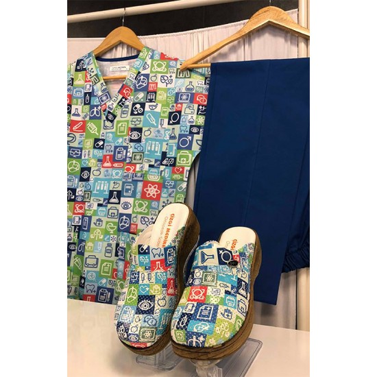 Comfort Cotton Bayan Biyolog Desen Lacivert Pantolon Sabo Terlik