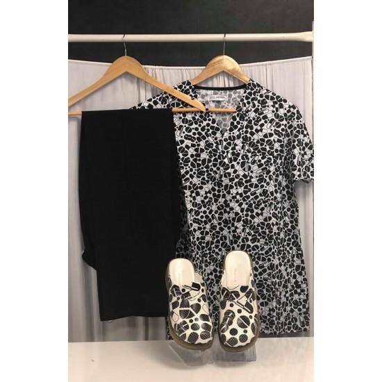 Comfort Cotton Bayan İlaç Kapsülü Desen Siyah Pantolon Sabo Terlik