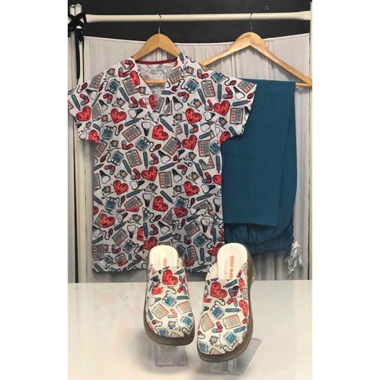 Comfort Cotton Bayan Kalp Atışı Desen Açık Petrol Yeşili Pantolon Sabo Terlik