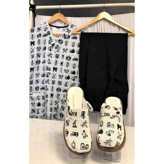 Comfort Cotton Bayan Meditool Desen Siyah Pantolon Sabo Terlik