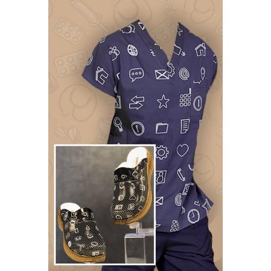 Comfort Cotton Bayan Multimedya Desen Lacivert Pantolon Sabo Terlik
