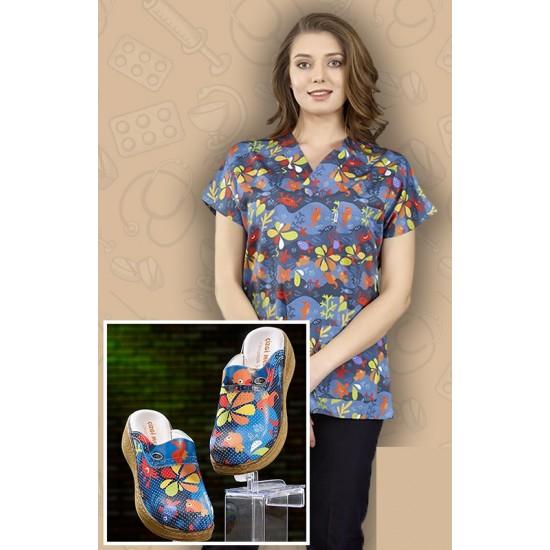 Comfort Cotton Bayan Sualtı Desen Lacivert Pantolon Sabo Terlik