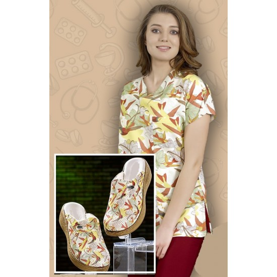 Comfort Cotton Bayan Uçankuş Desen Bordo Pantolon Sabo Terlik