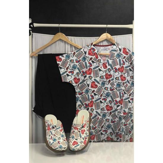 Comfort Cotton Erkek Kalp Atışı Desen Siyah Pantolon Sabo Terlik