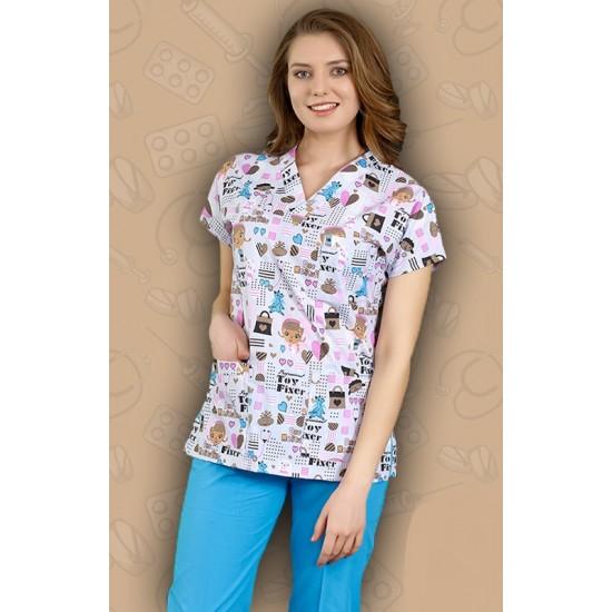 Dr Stuffin Desenli Dr Greys Modeli Cerrahi Takım (Terikoton İnce Kumaş)